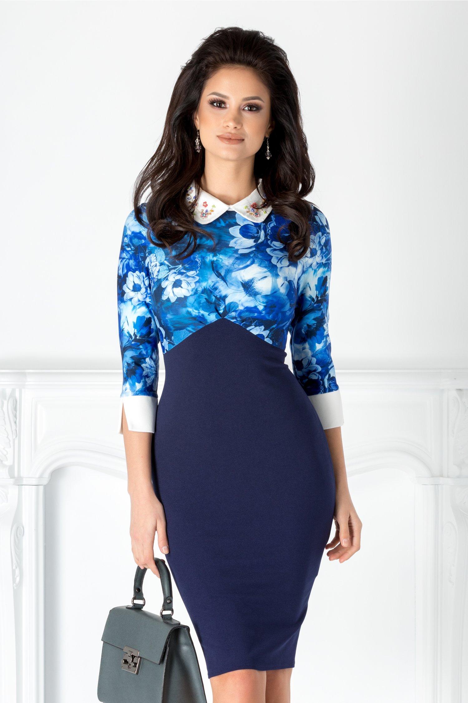 Rochie Melania bleumarin cu imprimeu albastru