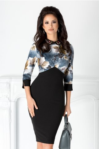 Rochie Melania neagra cu imprimeu bleumarin