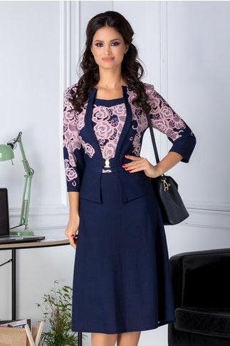Rochie Melanie bleumarin cu motive florale roz