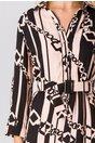 Rochie Melba roz cu dungi negre si imprimeu chain