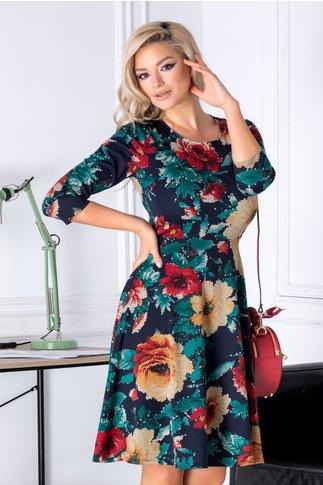 Rochie Meli bleumarin cu imprimeu floral mozaic