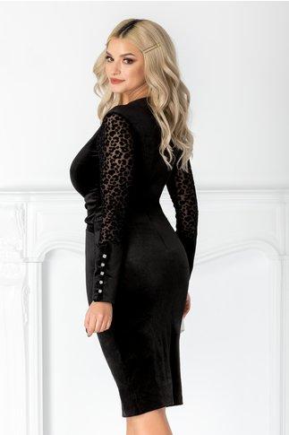 Rochie Meli neagra din catifea cu animal print