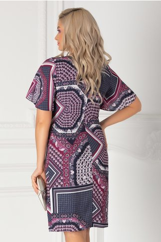 Rochie Melia bleumarin cu imprimeuri geometrice