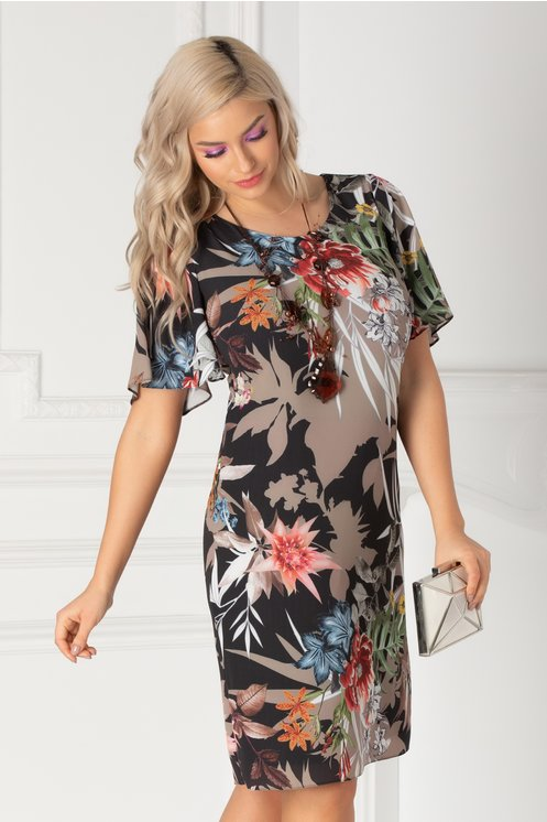 Rochie Melia neagra cu imprimeu floral