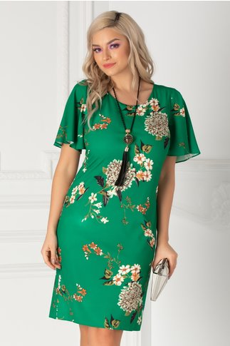 Rochie Melia verde cu imprimeu floral