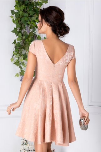 Rochie Melisa din jacard roz pudrat de ocazie