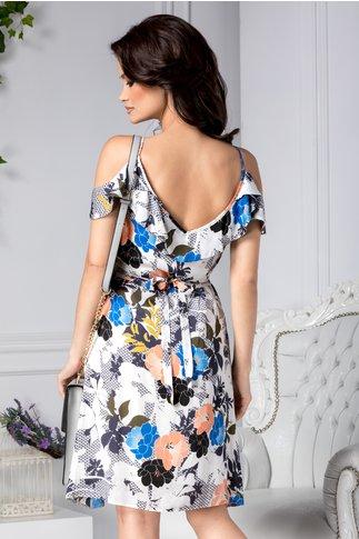 Rochie Melita alba cu detalii florale petrecuta
