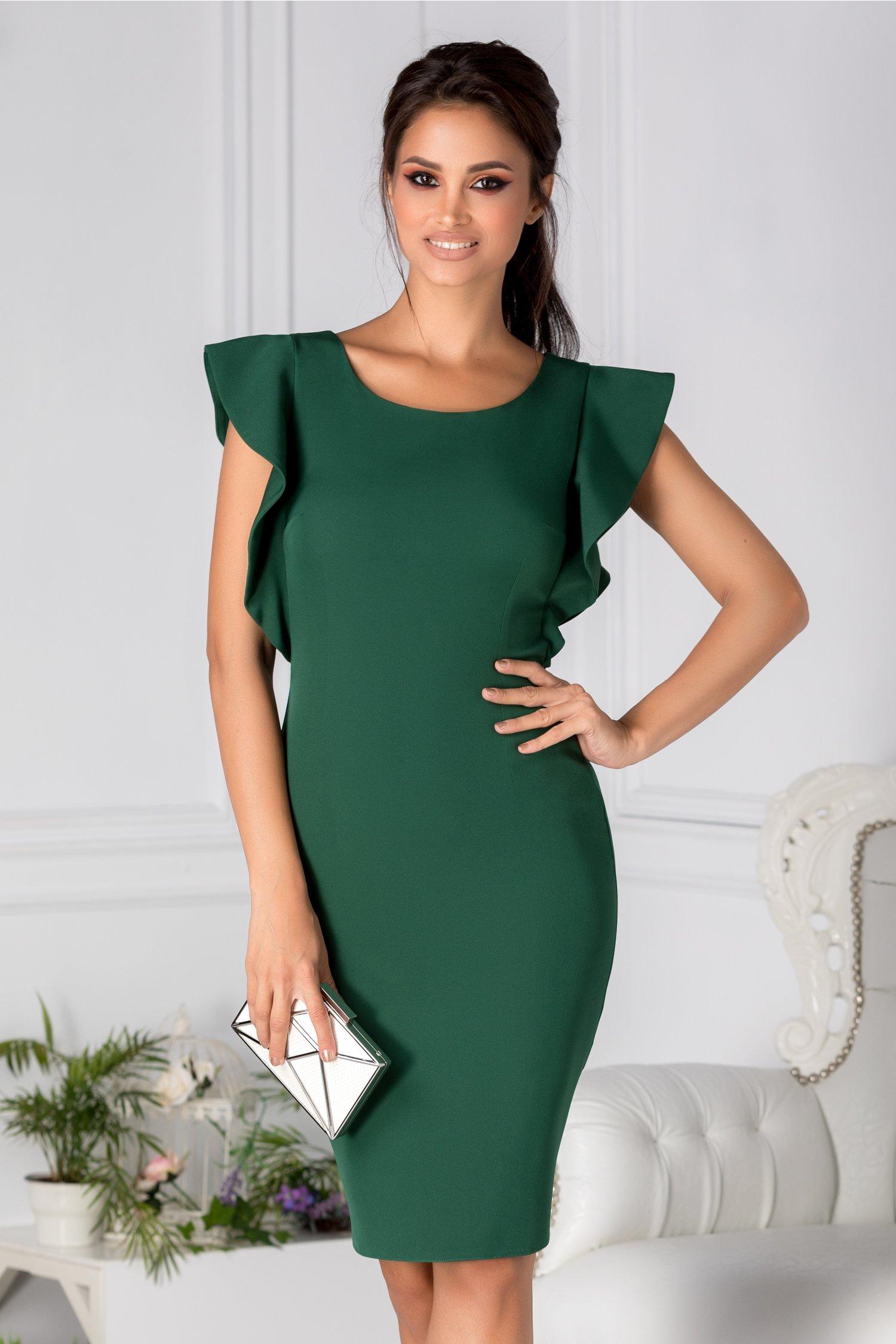 Rochie Mella conica verde cu volanase la maneci