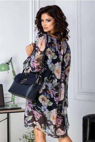 Rochie Mellanie vaporoasa bleumarin cu imprimeu floral