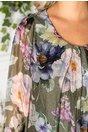 Rochie Mellanie vaporoasa kaki cu imprimeu floral