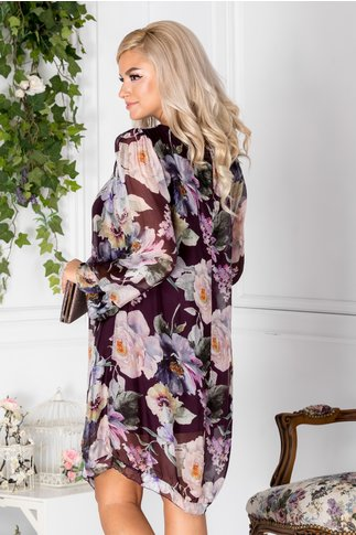 Rochie Mellanie vaporoasa mov cu imprimeu floral