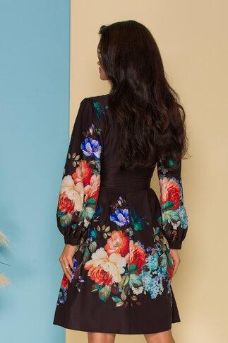 Rochie Melly neagra cu imprimeuri florale colorate