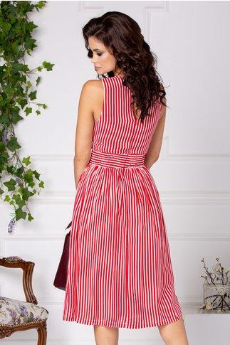 Rochie Menona midi casual cu dungi rosii si albe