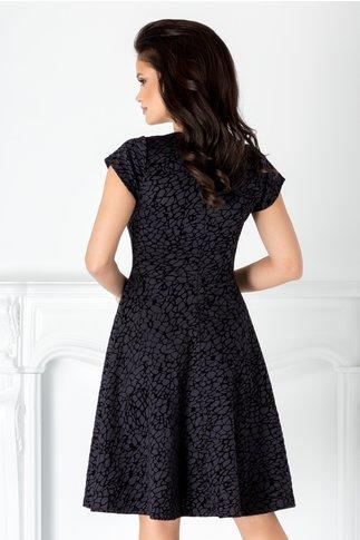 Rochie Mery bleumarin cu detalii negre catifelate