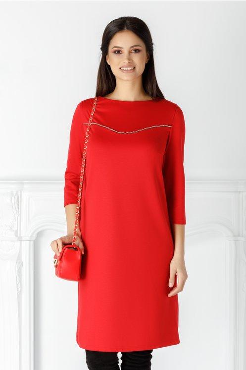 Rochie Mery rosie cu margelute argintii la bust