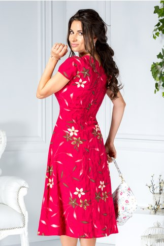 Rochie Meryl rosie midi office de zi clos cu imprimeu floral