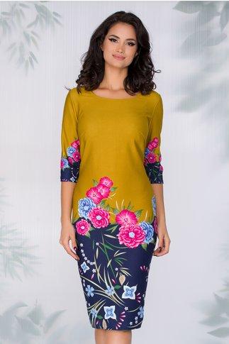 Rochie Mia galben mustar cu imprimeu floral si baza bleumarin