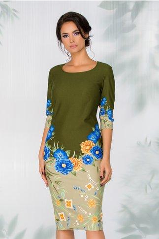 Rochie Mia verde cu imprimeu floral si baza in degrade