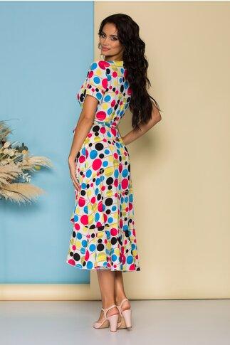 Rochie midi alba petrecuta cu buline multicolore