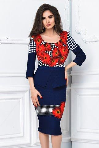 Rochie midi bleumarin cu imprimeu rosu