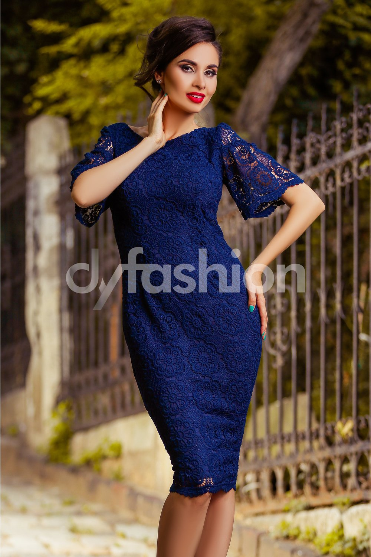 Magazin Online Haine - Rochie Midi Carolina Bleumarin cu Maneci Clopot -Fashion-4u.Eu
