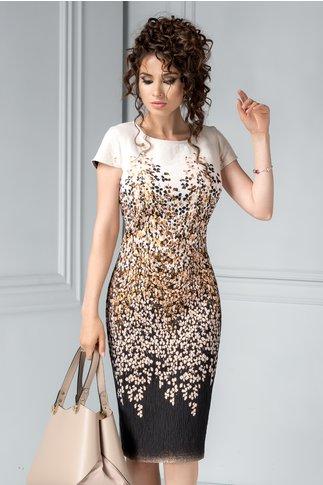 Rochie midi crem cu imprimeuri colorate aramii