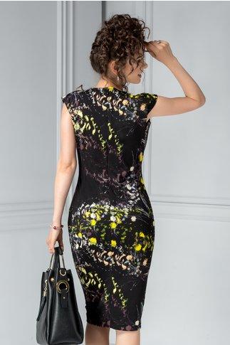 Rochie midi neagra office cu imprimeu floral galben