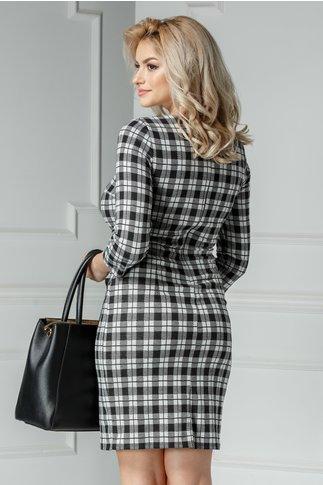 Rochie midi negru gri cu buzunare transparente
