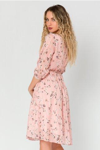 Rochie Mihaela roz cu imprimeuri florale si insertii argintii
