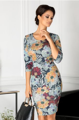 Rochie Miki conica cu imprimeu floral colorat