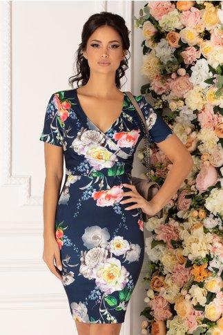 Rochie Mikki bleumarin cu imprimeu floral multicolor si decolteu petrecut
