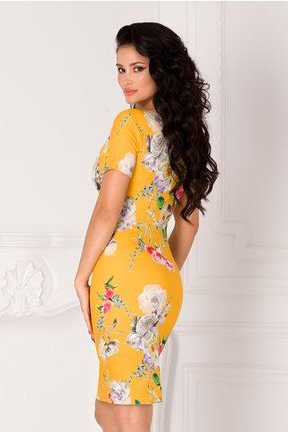 Rochie Mikki galbena cu imprimeu floral si decolteu petrecut