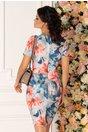 Rochie Mikki gri cu imprimeu floral si decolteu petrecut
