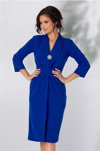 Rochie Mikky albastra cu decolteu adanc si design petrecut