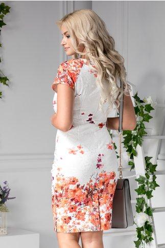 Rochie Milana alba de zi cu flori portocalii