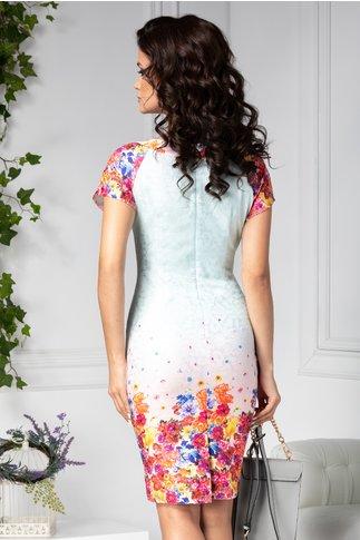 Rochie Milana in degrade cu flori colorate