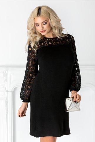 Rochie Milana neagra din tricot cu dantela