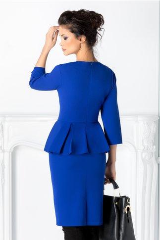 Rochie Mimi albastra cu peplum in talie