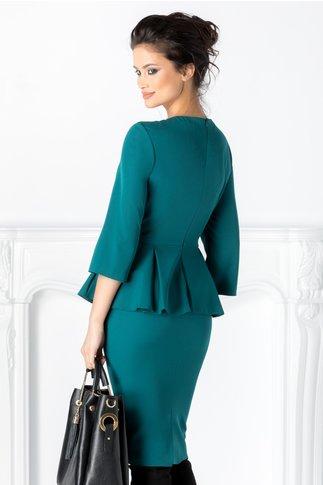 Rochie Mimi verde cu peplum in talie