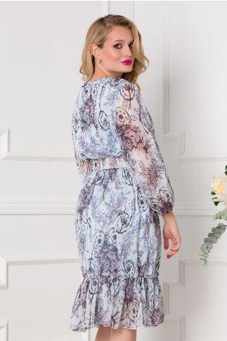 Rochie Mina bleu cu imprimeuri si curea in talie