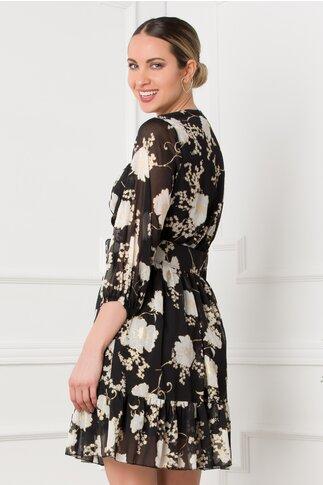 Rochie Mina neagra cu imprimeu floral si curea in talie