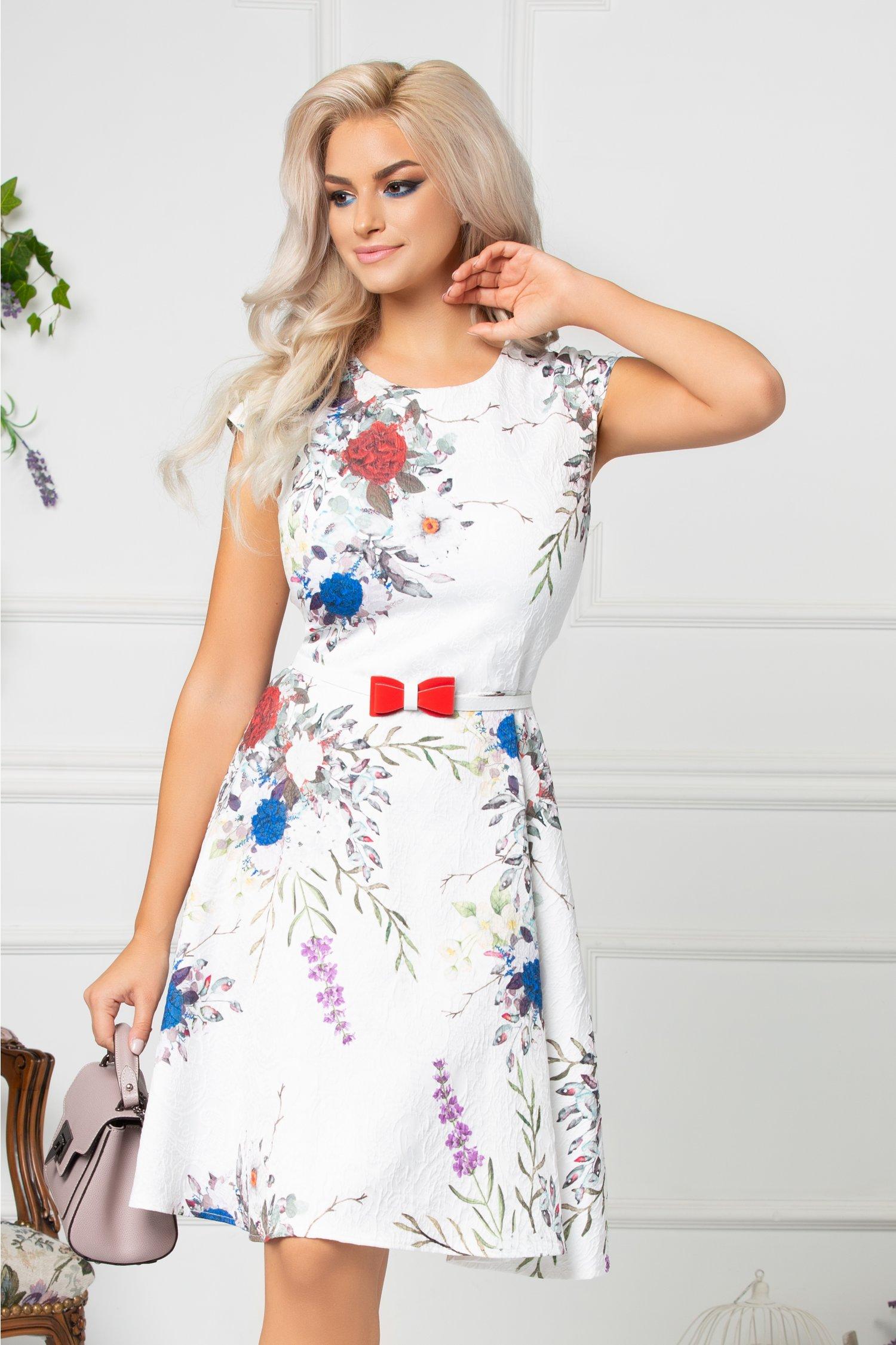 Rochie Minerva alba cu detalii florale si curea in talie