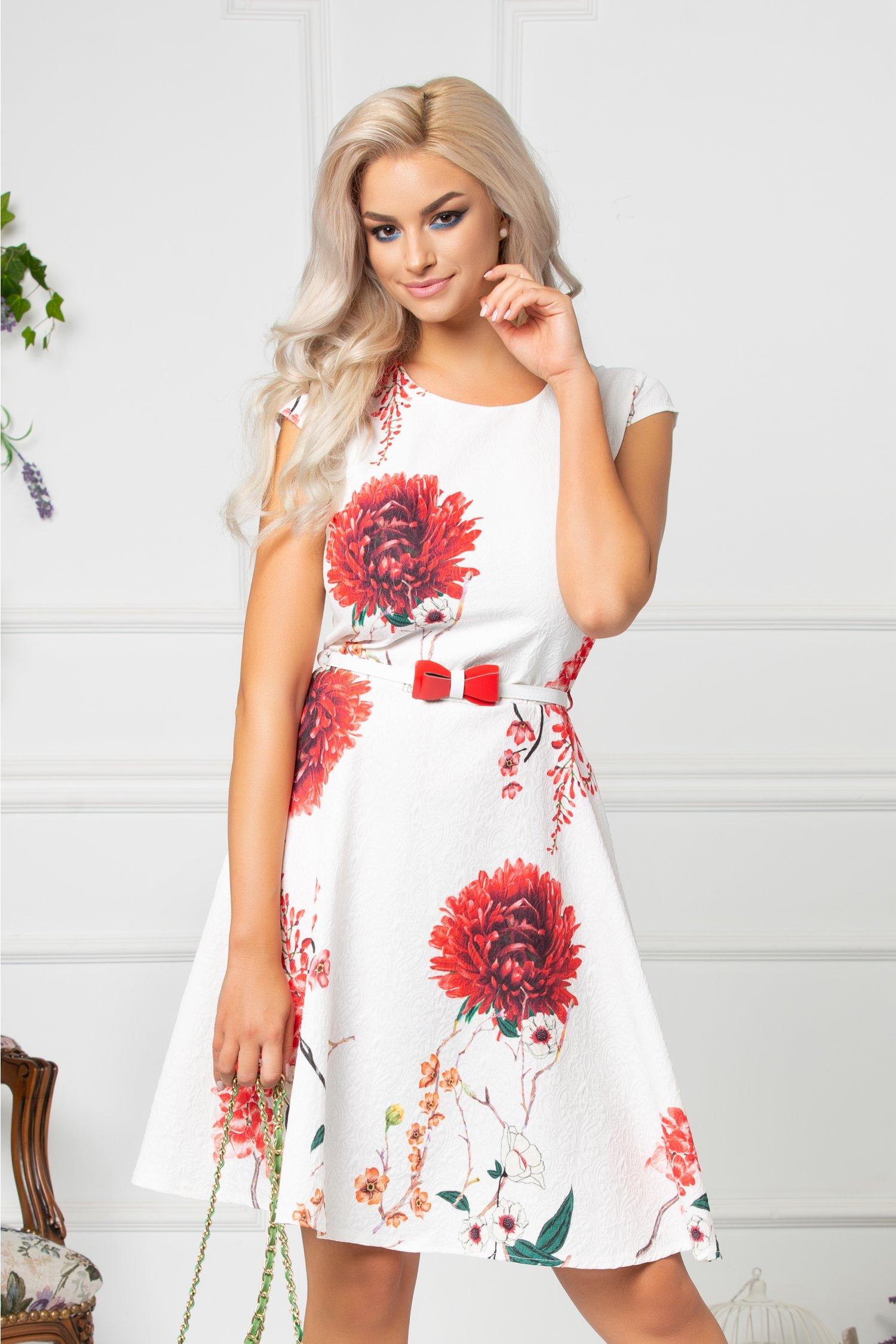 Rochie Minerva alba cu flori corai si curea in talie