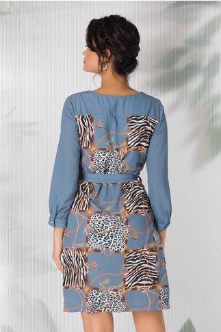Rochie Minerva bleu cu imprimeuri diverse