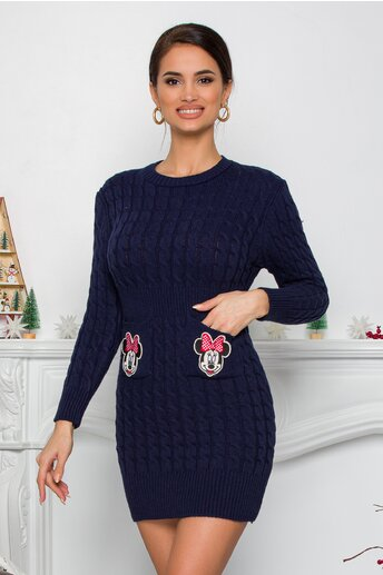 Rochie Minnie bleumarin din tricot cu design impletit