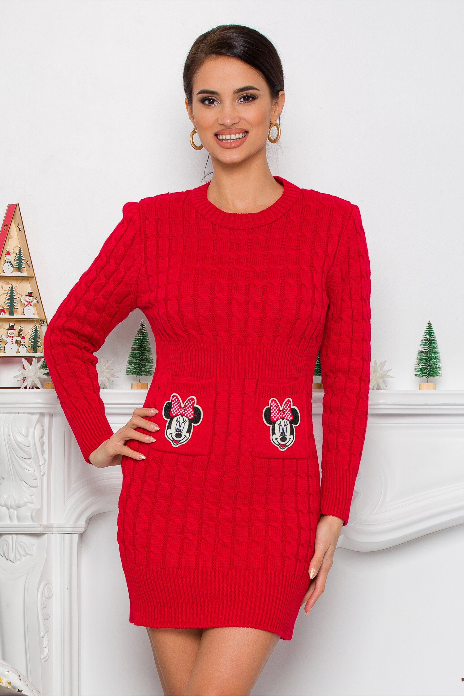 Rochie Minnie rosie din tricot cu design impletit imagine