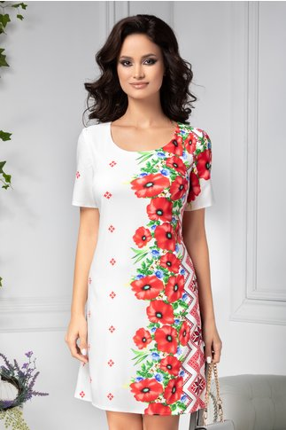 Rochie Mira alba cu flori rosii si motive traditionale