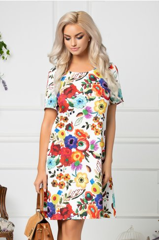 Rochie Mira alba dreapta cu imprimeu floral colorat