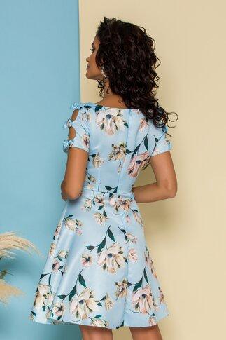 Rochie Mira bleu cu imprimeu floral si fundite la maneci
