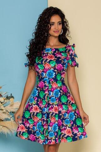 Rochie Mira bleumarin cu imprimeu floral si fundite la maneci
